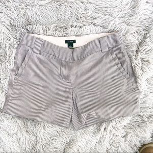 J. Crew • Brown Pinstriped City Fit Shorts